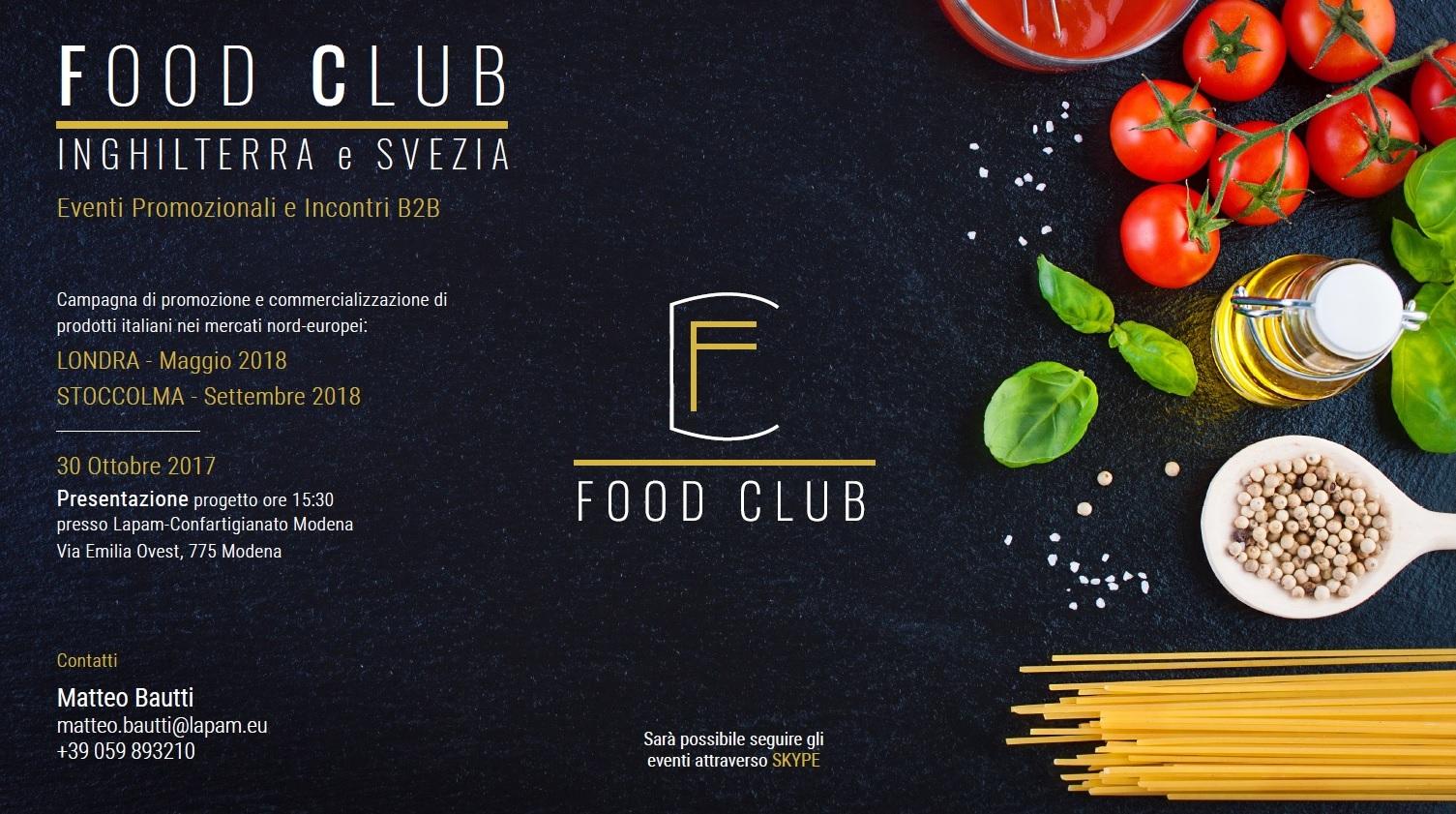 Food Club: incontro di presentazione